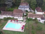 Domaine Lavie - aerial view of the cottages and swimming pool