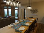 Dining Room featuring 12 ft custom table made by our housekeepers