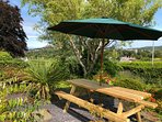 Picnic Bench for 10 people, outdoor dining with views of the hills and estuary