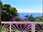 View of Caribbean and brilliant bougainvilleas from queen bed in master bedroom