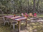 Gather outdoors for a picnic under the oak trees.