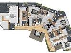 Downstairs: 6 En Suites Pl;us, but we charge per En Suite,  all with King Size Beds,Portatble Availb