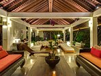 Villa Samadhana - Living and dining pavilion towards guest rooms