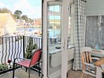 French doors opening on small balcony overlooking the Harbour