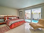 This king bedroom has a wonderful pool view!