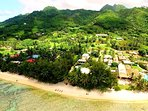 set on 3/4 acre of grounds finishing on the golden mile of Muri Beach!