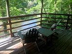 Enjoy our wrap around porch overlooking the beautiful South Toe River! #southtoelife