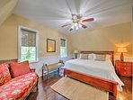 The master bedroom includes a king-sized bed!