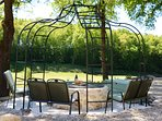 The beautiful, peaceful lower garden overlooks Vigiers golf course