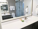 newly renovated bathroom with double sinks