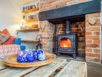Cosy around the real log burner at Ramblers Rest Cottage