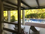 Beautiful garden and pool views from living and dining rooms