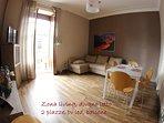 Zona living,divano letto 2 piazze, tv led, balcone , condizionatore