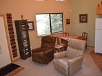 View of living area from loft with Lazy Boy rocker recliners