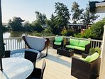 Huge decked area lakeside with private fishing peg