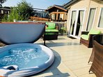 Sunken hot tub overlooking the private fishing peg