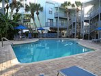 Large pool deck with plenty of loungers