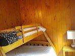 Bedroom with bunk - twin on top, queen below