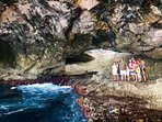 An ocean cave near the bridge made for an incredible family photo. ONLY on flat calm days!
