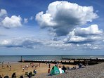 Sheringham's Blue Flag award winning beach, an easy stroll from Magnolia Cottage