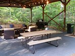 Pavilion has a gas griddle, lounging furniture seats 6, picnic table & edison lights for night fun!