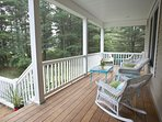 Our front porch offers a wonderful view of woods and peaceful place to enjoy a meal or read a book.