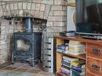 The wood burner in the living area