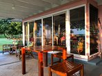 The covered lanai where you can dine outside if you wish.