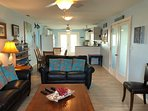 Living, dining and kitchen all have view of Copano Bay