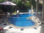 The pool fence which we can hire for you if you have young children