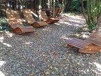 Holzdesignerliegen im Garten  Herbst 2018