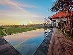 Swimming pool during sunset