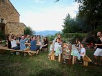 One a week we do a communal meal for everyone staying with us in our garden. Always fun!