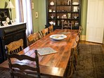 Harvest table dining room that comfortably seats 12 (you can always squeeze in more)