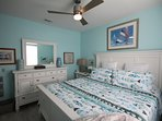 0. Spa colors and linens for the master bedroom and a large smart TV to lull sleep.