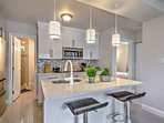 Full kitchen with upgraded amenities. Cook anything you'd like here!