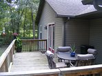 Enjoy the raised back deck and you outside dining area.