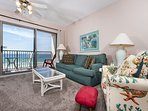 Plenty of seating for everyone in this beach front condo.