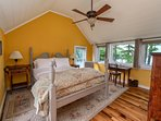 master queen bed with lake views and private bath