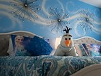 A subtle FROZEN theme throughout the home and luxury beds and other furnishings for a magical stay!