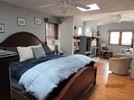MASTER SUITE, KING BED, FULL BATHROOM, SUITE,  WITH TV, FIREPLACE, DESK, DOOR TO PATIO,, PRIVATE