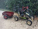 bikes for adults and pedal tractor for children