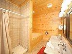 First Floor Bathroom with Jacuzzi Bath at Moonbeams & Cabin Dreams