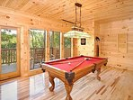 First Floor Game Room  with Pool Table at Moonbeams & Cabin Dreams