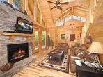 Living Room with Fireplace at Moonbeams & Cabin Dreams