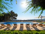 In lavishly green surroundings lies a private 7-bedroom villa where holidays in Rhodes Island become