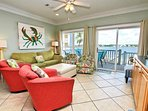 Living Room with Lagoon and Pool Views
