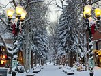 A fresh snowfall covers downtown Aspen.  Photo courtesy Aspen Chamber Resort Association, Jeremy Swanson