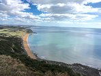 Stunning views: Golden Cap - highest point on the south coast of England, just along the coastline
