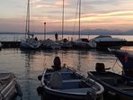 Sunset at the fisher's boats of  Lazise